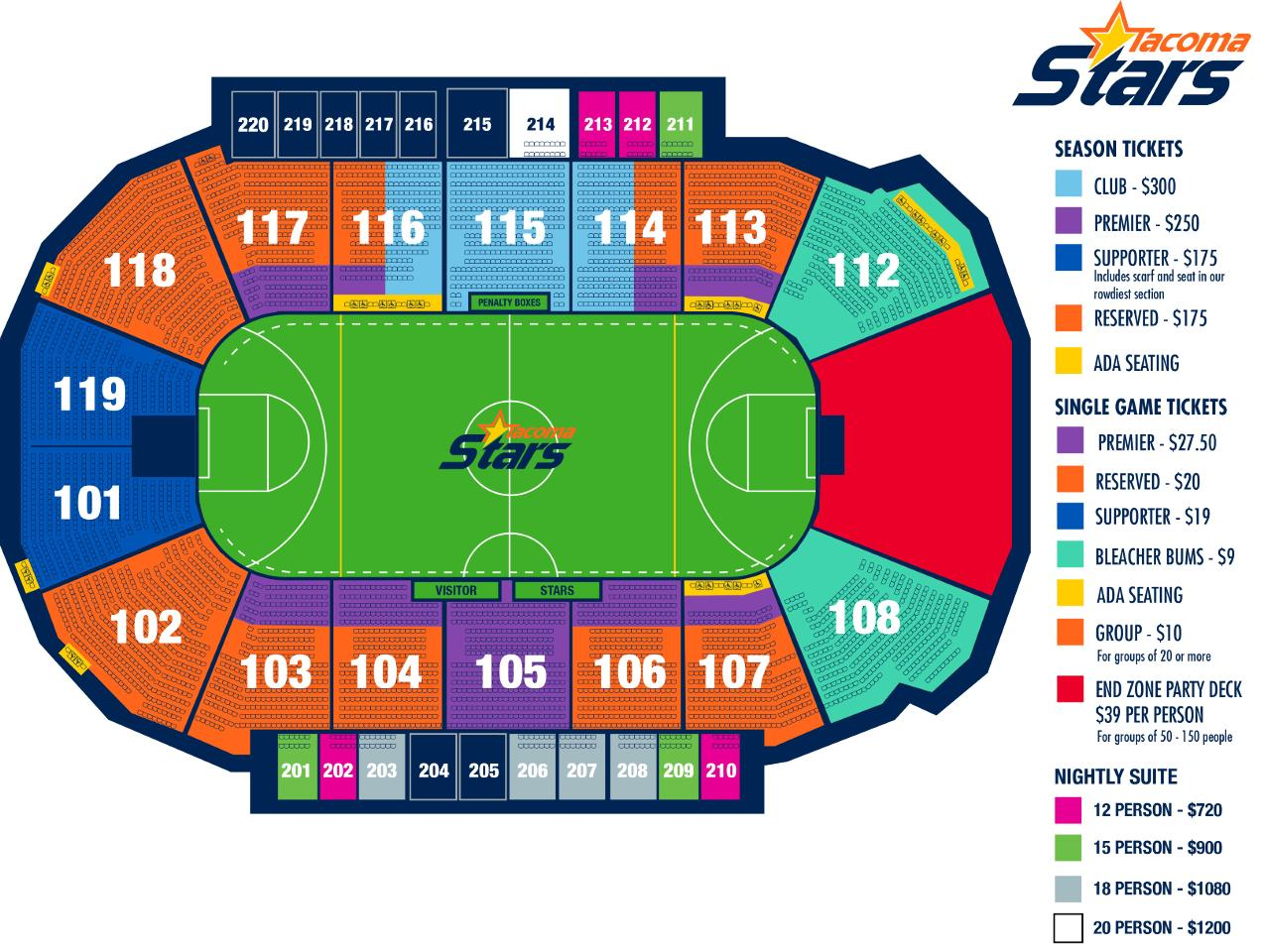 Tacoma stars seating chart showare center home of seattle