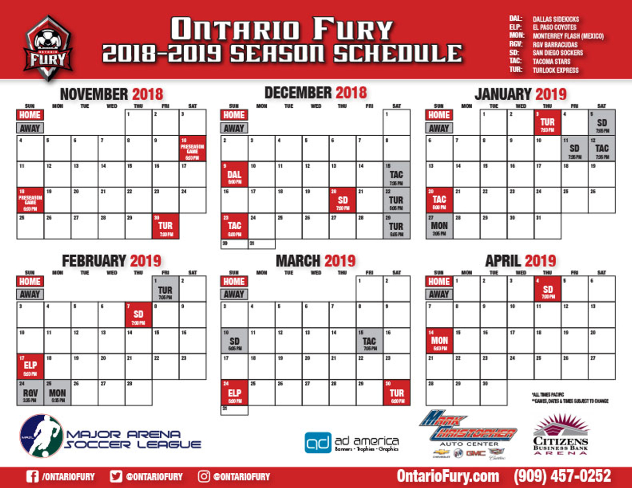 ontario fury 2018 2019 schedulepdf