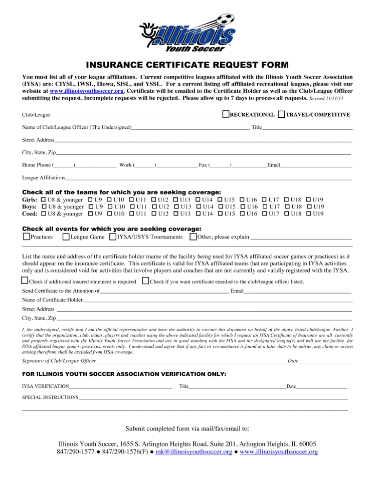 Iysa Insurance Certificate Request Form St Louis Youth Soccer