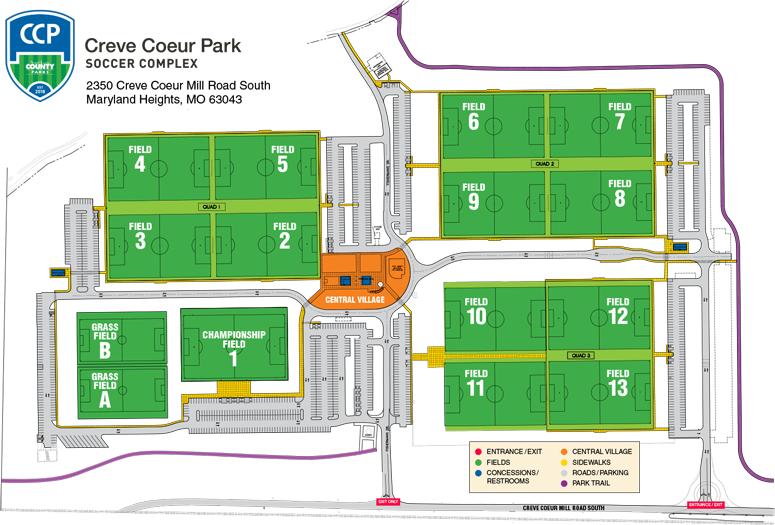 Creve Coeur Park Map Creve Coeur Park Soccer Complex   St Louis Youth Soccer Creve Coeur Park Map