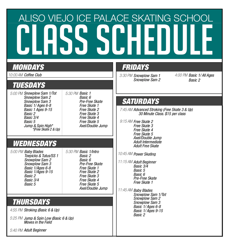 Skating School Class Schedule Aliso Viejo Ice Palace